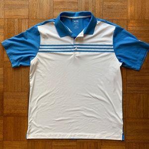 Adidas Golf ClimaCool Blue White Polo Shirt, Large
